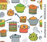 cute cooking pots and lettering....   Shutterstock .eps vector #403443112