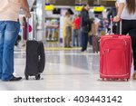luggage at the airport terminal. | Shutterstock . vector #403443142