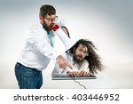 angry boss yelling to a office...   Shutterstock . vector #403446952