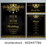 wedding invitation or card with ... | Shutterstock .eps vector #403447786