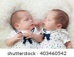 Newborn Twins Sisters Sleeping...