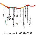 tribal boho style feather on... | Shutterstock .eps vector #403465942