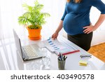 young pregnant business woman... | Shutterstock . vector #403490578