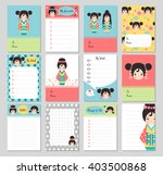 set of cute cards with japanese ... | Shutterstock .eps vector #403500868