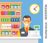 supermarket checkout and...   Shutterstock .eps vector #403509556