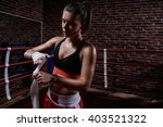 young girl in boxing ring | Shutterstock . vector #403521322