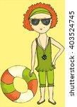 teenager girl on the beach | Shutterstock .eps vector #403524745
