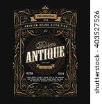 Antique frame design western label vintage border blackboard vector | Shutterstock vector #403527526