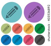 color pencil flat icon set on...