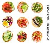 set of various bruschettas... | Shutterstock . vector #403539256