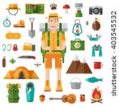 backpacker vector camping set....   Shutterstock .eps vector #403545532
