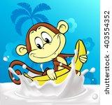 cute monkey ride banana in milk ... | Shutterstock .eps vector #403554352