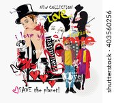 fashion collage with freehand... | Shutterstock .eps vector #403560256