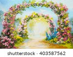 Oil Painting   Floral Arch In...