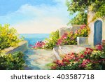 oil painting   house near the... | Shutterstock . vector #403587718