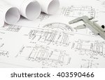 architecture plan and rolls of... | Shutterstock . vector #403590466
