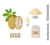 superfood baobab set in flat... | Shutterstock .eps vector #403606606