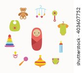 baby care concept with toy... | Shutterstock .eps vector #403607752