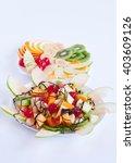 delicious salad of mixed fruit   Shutterstock . vector #403609126
