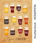 poster beer with main types...   Shutterstock . vector #403609456