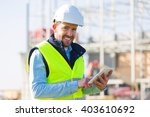 view of an attractive worker on ... | Shutterstock . vector #403610692