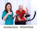 elderly woman doing sport...