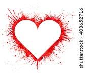 white heart shape on red paint... | Shutterstock .eps vector #403652716