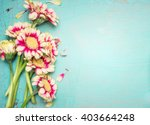 Stock photo lovely flowers on turquoise shabby chic background festive greeting card 403664248