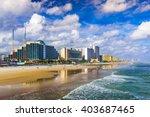 Daytona Beach, Florida, USA beachfront skyline.