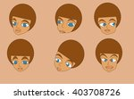 man brown hair cartoon head  | Shutterstock .eps vector #403708726