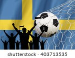 silhouettes of soccer fans with ... | Shutterstock . vector #403713535
