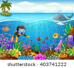 cartoon diver under the sea | Shutterstock . vector #403741222