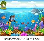 cartoon diver under the sea | Shutterstock . vector #403741222