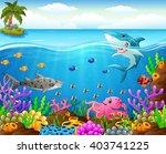 cartoon shark  under the sea | Shutterstock . vector #403741225