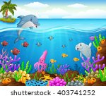 cartoon fish under the sea | Shutterstock .eps vector #403741252