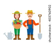 farmers gardeners man and woman ... | Shutterstock .eps vector #403760902