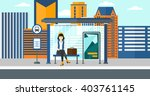 woman waiting for bus.   Shutterstock .eps vector #403761145