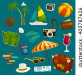 travel object set  cartoon... | Shutterstock .eps vector #403787626
