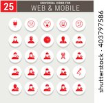 25 red universal icon set.... | Shutterstock .eps vector #403797586