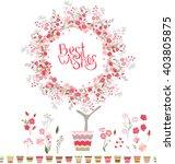 stylized tree in cute flower...   Shutterstock .eps vector #403805875
