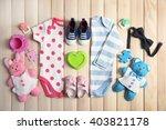 Stock photo kid s set on wooden background 403821178