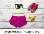 women's sports kit for fitness. ...   Shutterstock . vector #403840192