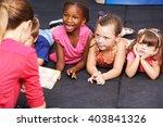 happy children listening to... | Shutterstock . vector #403841326