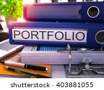 blue ring binder with... | Shutterstock . vector #403881055