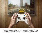 hand holding game console... | Shutterstock . vector #403898962