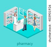 isometric interior of pharmacy | Shutterstock .eps vector #403901926