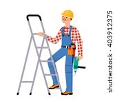 builder man wearing helmet and... | Shutterstock .eps vector #403912375