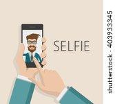 taking selfie photo on smart... | Shutterstock .eps vector #403933345