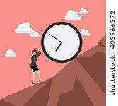 business woman pushing huge... | Shutterstock .eps vector #403966372