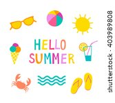 Colorful Summer Icons Set. Cut...